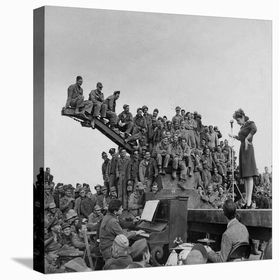 Comedienne Martha Raye on Stage for a Rapt Audience of Amer. Soldiers During USO-Camp Shows-Margaret Bourke-White-Stretched Canvas Print
