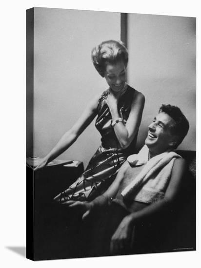 Conductor Leonard Bernstein Sitting with His Wife-Gordon Parks-Stretched Canvas Print