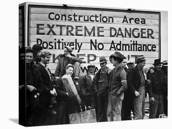 Construction Area: Extreme Danger, Positively No Admittance, Keep Out, at Grand Coulee Dam-Margaret Bourke-White-Stretched Canvas Print