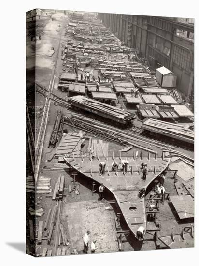 Construction Yard of Bethlehem Ship Building Corp. Where Frames and Bulkheads are Preassembled-Margaret Bourke-White-Stretched Canvas Print