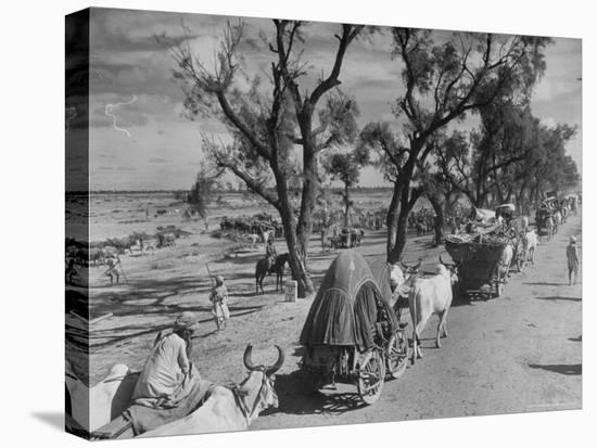 Convoy of Sikhs Migrating to East Punjab After the Division of India-Margaret Bourke-White-Stretched Canvas Print