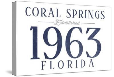 Coral Springs, Florida - Established Date (Blue)-Lantern Press-Stretched Canvas Print