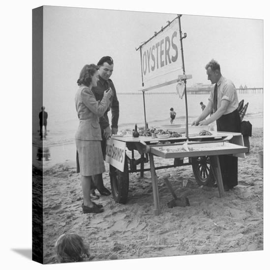 Couple Buying Seafood at Blackpool Beach-Ian Smith-Stretched Canvas Print
