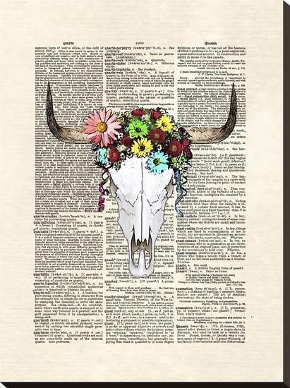 Cowskull Flowers-Matt Dinniman-Stretched Canvas Print