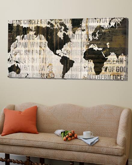 Crate World Map Neutral-Sue Schlabach-Loft Art