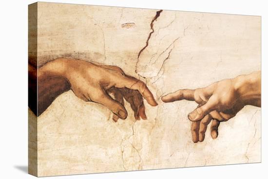 Creation of Adam (detail)-Michelangelo Buonarroti-Stretched Canvas Print