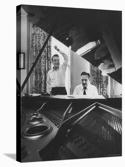 """Creators of """"My Fair Lady"""", Allan Jay Lerner and Frederick Loewe, at Piano Working on Score-Gordon Parks-Stretched Canvas Print"""