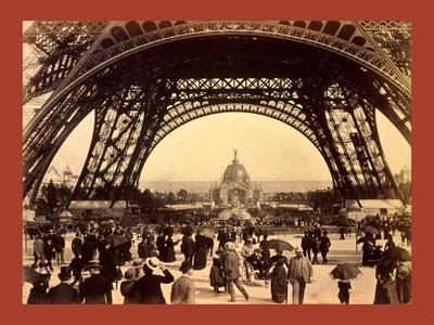 Crowd of People Walking under the Base of Eiffel Tower--Stretched Canvas Print