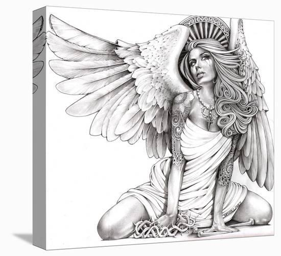 Crying Angel-Mouse Lopez-Stretched Canvas Print