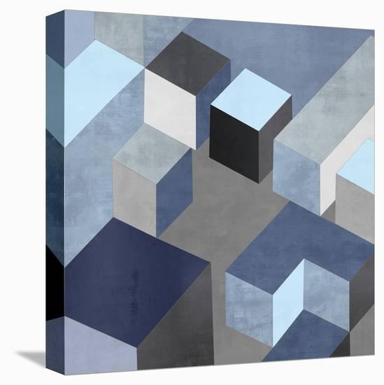 Cubic in Blue I-Todd Simmions-Stretched Canvas Print