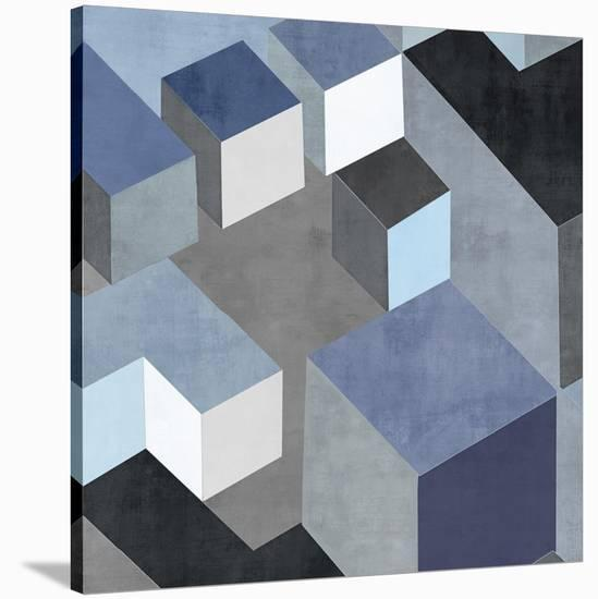 Cubic in Blue II-Todd Simmions-Stretched Canvas Print
