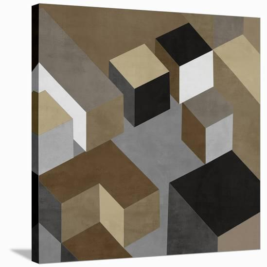 Cubic in Neutral I-Todd Simmions-Stretched Canvas Print