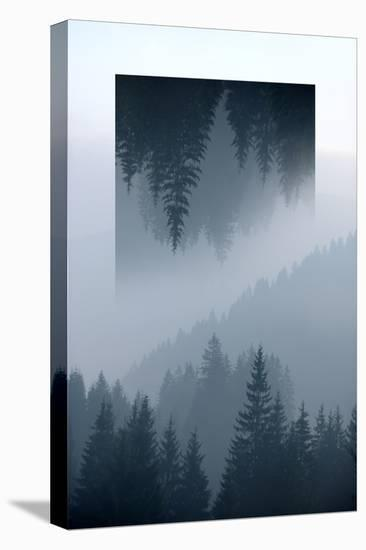 Dark Mountains Forest and Fog - Geometric Reflections Effect-byrdyak-Stretched Canvas Print
