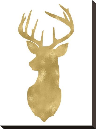 Deer Head Left Face Golden White-Amy Brinkman-Stretched Canvas Print