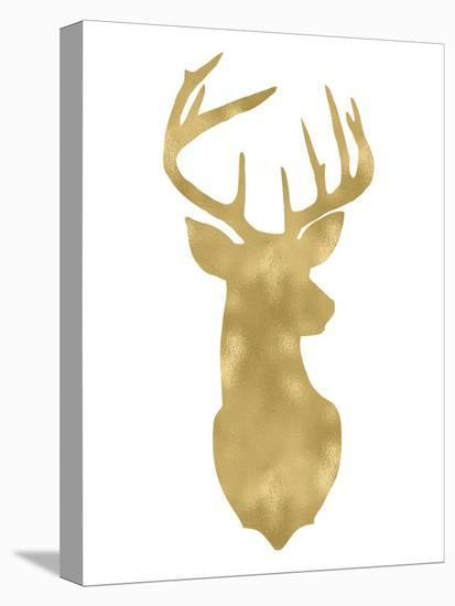 Deer Head Right Face Golden White-Amy Brinkman-Stretched Canvas Print