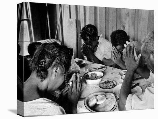Delta and Pine Company African American Sharecropper Lonnie Fair and Family Praying before a Meal-Alfred Eisenstaedt-Stretched Canvas Print