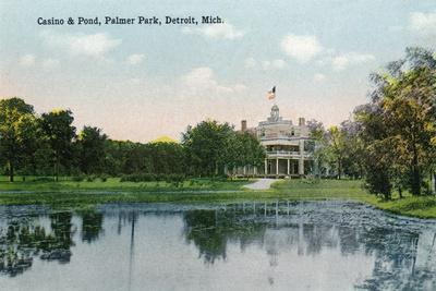Detroit, Michigan - Palmer Park, View of the Casino and the Pond-Lantern Press-Stretched Canvas Print