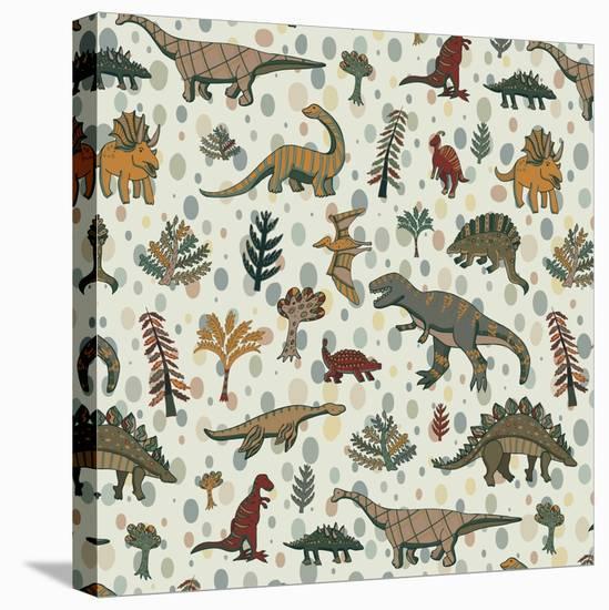 Dinosaur Pattern-GooseFrol-Stretched Canvas Print
