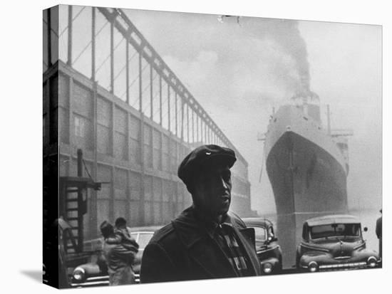Dockworker Archie Harris Reflecting on Former Days as a Track Star-Gordon Parks-Stretched Canvas Print