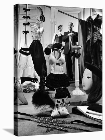 Dress Designer Christian Dior in His Workshop-Frank Scherschel-Stretched Canvas Print