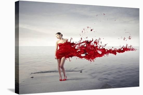 Dress Melting In Red Paint--Stretched Canvas Print