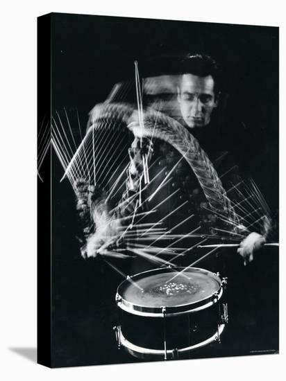 Drummer Gene Krupa Playing Drum at Gjon Mili's Studio-Gjon Mili-Stretched Canvas Print