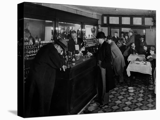 Drunk Male Patron at an Speakeasy in the Business District Protected From Police Prohibition Raids-Margaret Bourke-White-Stretched Canvas Print