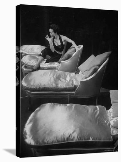 Eartha Kitt, Sitting on Chaise in Scene from New Faces-Ralph Morse-Stretched Canvas Print