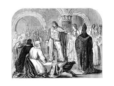 Edward I Presenting His Infant Son to the Welsh, 1284--Stretched Canvas Print