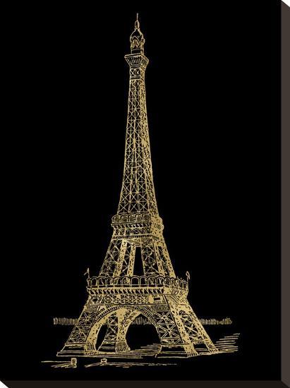Eiffel Tower Golden Black-Amy Brinkman-Stretched Canvas Print