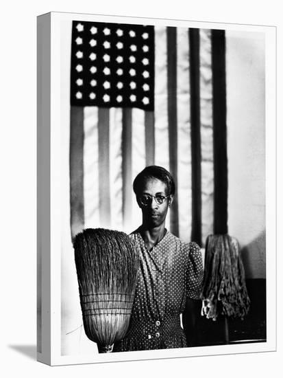 Ella Watson Standing with Broom and Mop in Front of American Flag, Part of Depression Era Survey-Gordon Parks-Stretched Canvas Print