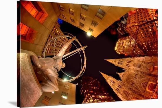 Evening at Rockefeller Center--Stretched Canvas Print