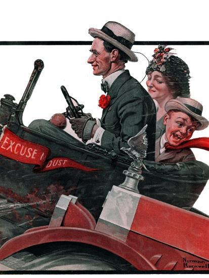 """""""Excuse My Dust"""", July 31,1920-Norman Rockwell-Stretched Canvas Print"""