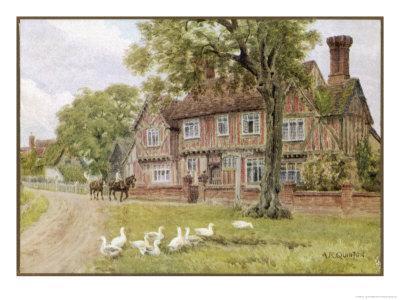 Farmhouse at Brent Eleigh Suffolk-A.r. Quinton-Stretched Canvas Print
