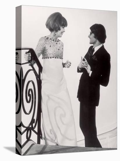 Fashion Designer Yves Saint Laurent Talking with Client Mrs. Stanley Donen at His Boutique-Pierre Boulat-Stretched Canvas Print