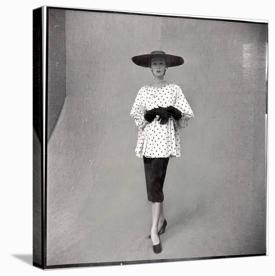 Fashion Model Showing Polka Dotted Smock Top over Black Skirt by Balenciaga-Gordon Parks-Stretched Canvas Print