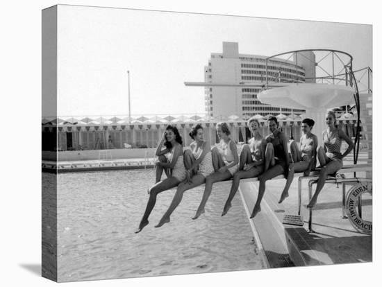 Fashion Models Wearing Swimsuits at the Eden Roc Swimming Pool-Lisa Larsen-Stretched Canvas Print