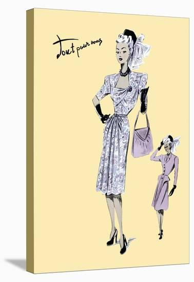 Fashionable Dress with Bag and Hat, 1947--Stretched Canvas Print