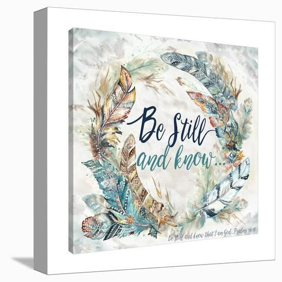 Feather Wreath: Be Still & Know-Tre Sorelle Studios-Gallery Wrapped Canvas