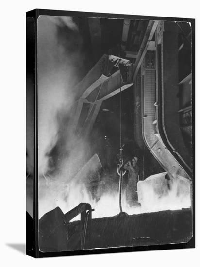 Female Metallurgist Peering Through an Optical Pyrometer to Determine the Temperature of Steel-Margaret Bourke-White-Stretched Canvas Print