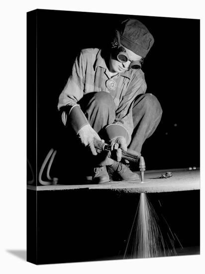 Female Welder at Work in a Steel Mill, Replacing Men Called to Duty During World War II-Margaret Bourke-White-Stretched Canvas Print