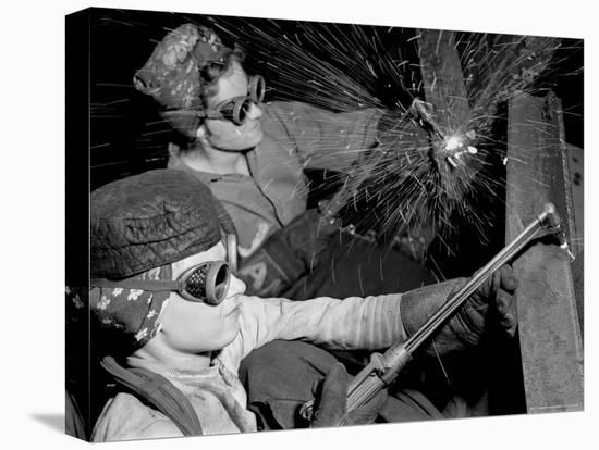 Female Welders at Work in a Steel Mill, Replacing Men Called to Duty During World War II-Margaret Bourke-White-Stretched Canvas Print