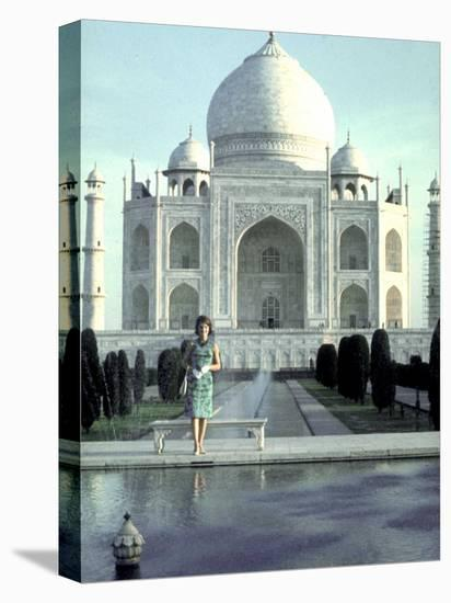 First Lady Jackie Kennedy Standing by Reflecting Pool in Front of Taj Mahal During Visit to India-Art Rickerby-Stretched Canvas Print
