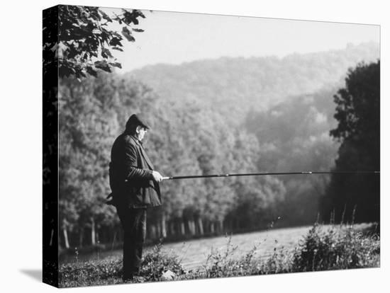 Fisherman on Banks of European Waterway-Pierre Boulat-Stretched Canvas Print