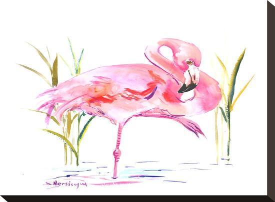 Flamingo-Suren Nersisyan-Stretched Canvas Print