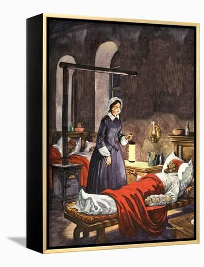 Florence Nightingale. The Lady with the Lamp, Visiting the Sick Soldiers in Hospital-Peter Jackson-Framed Canvas Print