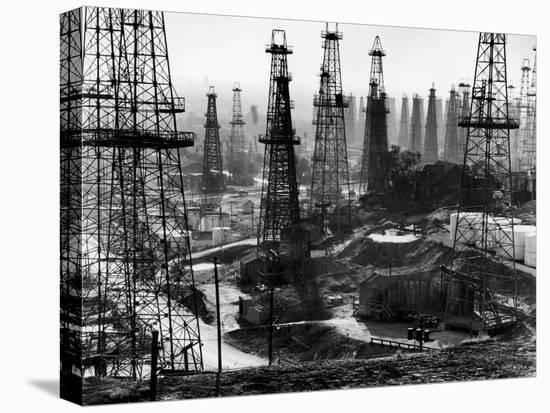 Forest of Wells, Rigs and Derricks Crowd the Signal Hill Oil Fields-Andreas Feininger-Stretched Canvas Print