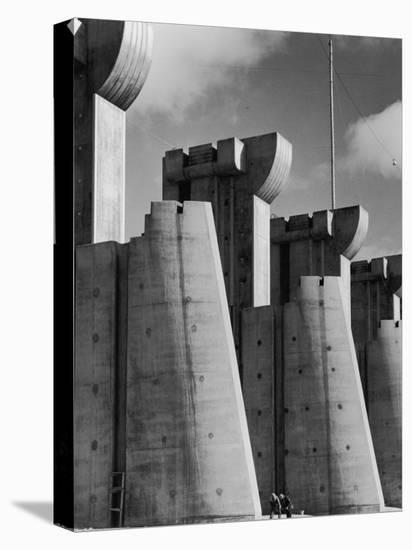 Fort Peck Dam, in the Missouri River: Image Used on First Life Magazine Cover-Margaret Bourke-White-Stretched Canvas Print
