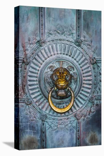 France, Paris, bronze door knocker.-Merrill Images-Stretched Canvas Print