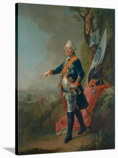 Frederick II, Landgrave of Hesse-Kassel, in the Officer's Uniform of the 45th Prussian Infantry…-Johann Heinrich Tischbein-Stretched Canvas Print